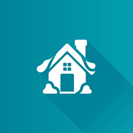 House with snow icon in Metro user interface color style. December Christmas
