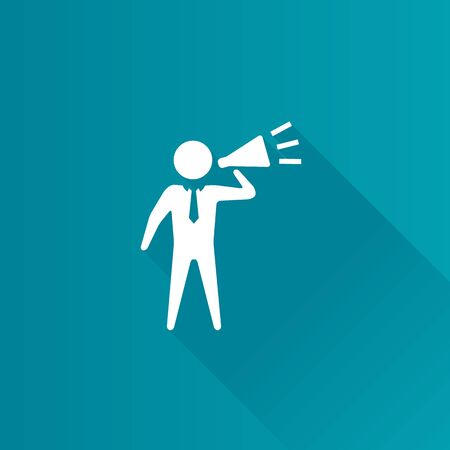 motivator: Businessman loudspeaker icon in Metro user interface color style. Motivator leader megaphone