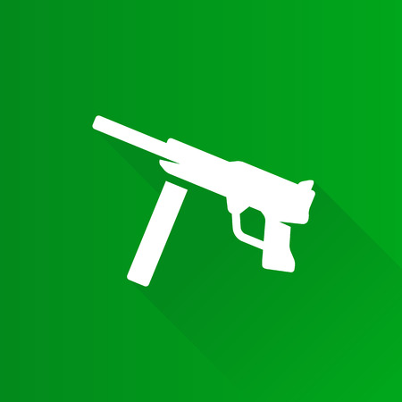 Vintage firearm icon in Metro user interface color style. World war army hand gun. Illustration