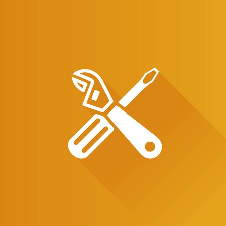 Mechanic tools icon in Metro user interface color style.