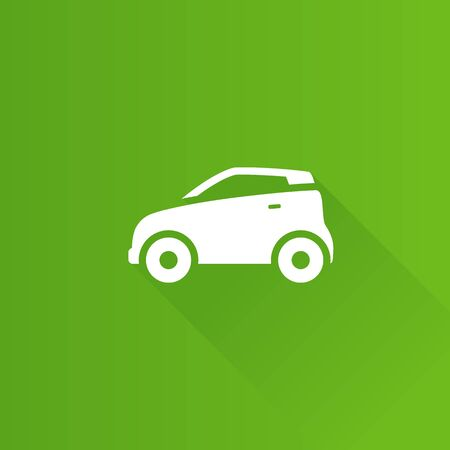 clip art cost: Green car icon in Metro user interface color style.