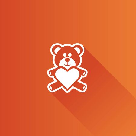 Teddy holding heart shape icon in Metro user interface color style. Valentine love present