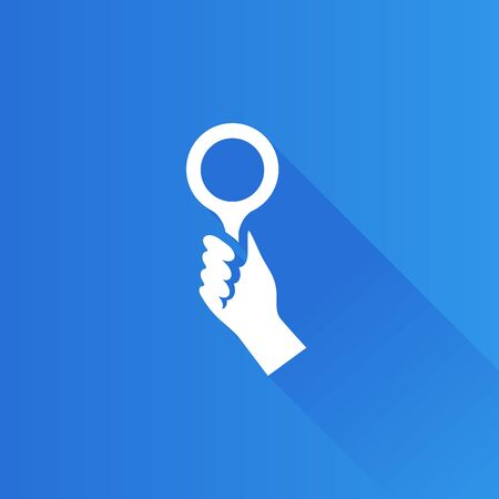 Bidder hand icon in Metro user interface color style. Business auction bidding Illustration