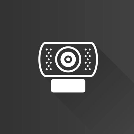 internet user: Webcam icon in Metro user interface color style. Computer internet connection