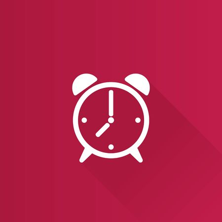 Clock icon in Metro user interface color style. Alarm waking morning