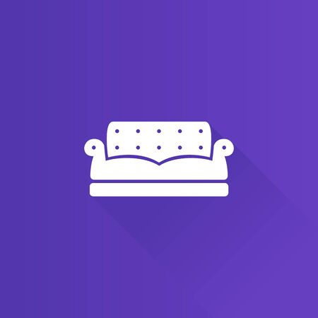 apartment: Couch icon in Metro user interface color style. Interior chair cozy living room