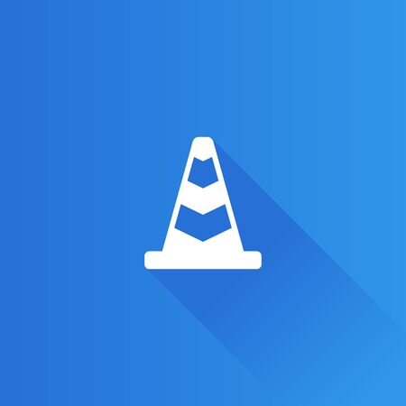 Traffic cone icon in Metro user interface color style. Road construction warning