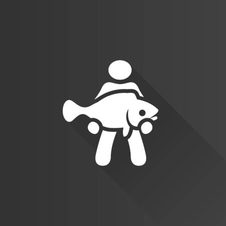 telephone: Man holding fish icon in Metro user interface color style. Fishing fisherman catch