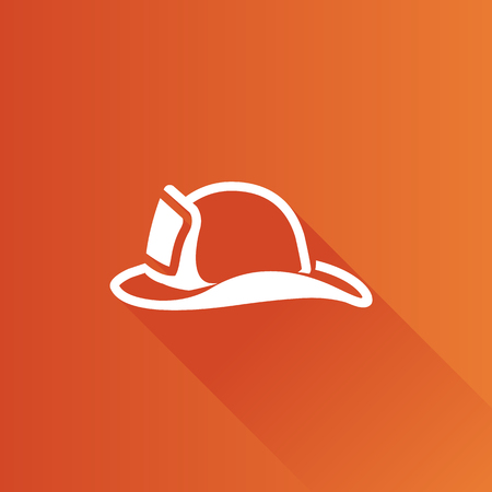 telephone: Fireman hat icon in Metro user interface color style. Helmet firefighter equipment