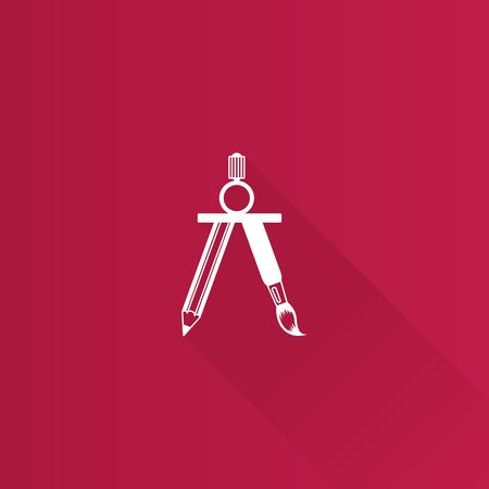 scale icon: Drawing compass icon in Metro user interface color style. Illustration painting work tool