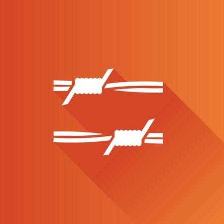 fil de fer: Barbed wire icon in Metro user interface color style. Protection war danger sharp