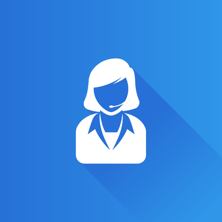 Female receptionist icon in Metro user interface color style. Call center support