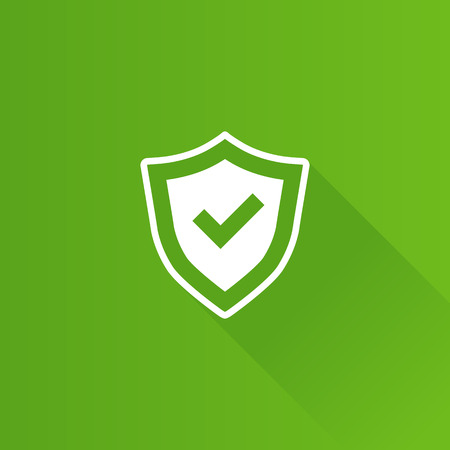 Shield icon with check mark in Metro user interface color style.  Protection guard safety