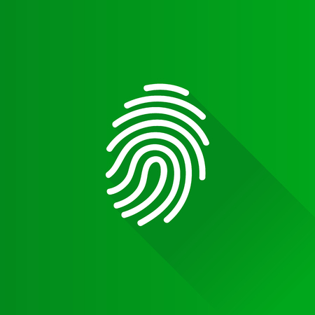 Fingerprint icon in Metro user interface color style. Science security crime identity