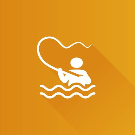 Fishing icon in Metro user interface color style. Sport leisure water lake Illustration