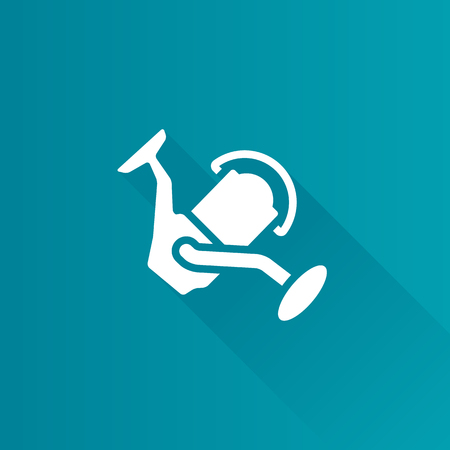 Fishing reel icon in Metro user interface color style. Water sport fisherman