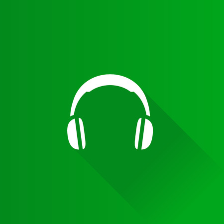 Headset icon in Metro user interface color style. Entertainment electronic music