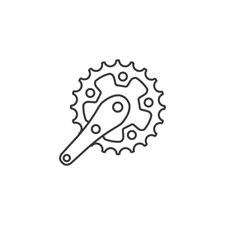 Bicycle crank set icon in thin outline style. Bicycle cycling road race sport rotor pedal