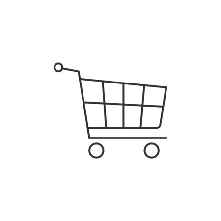 customer: Shopping cart icon in thin outline style. Buying, ecommerce