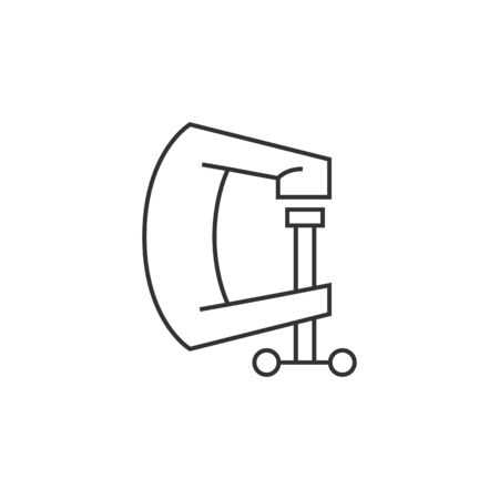 Clamp tool icon in thin outline style. Industrial mechanic repair construction building automotive