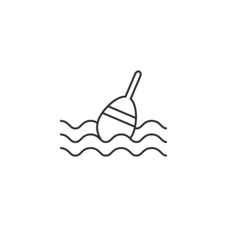 underwater fishes: Fishing float icon in thin outline style. Sport leisure water sea lake river bobber equipment