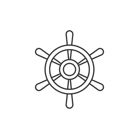 Ship steer wheel icon in thin outline style. Transportation sea navigate