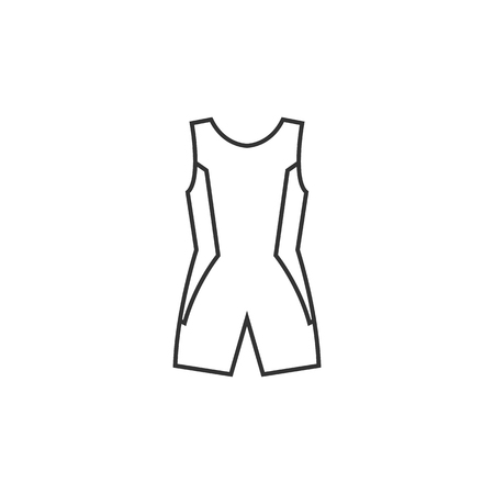 Triathlon suit icon in thin outline style. Sport cycling swimming running