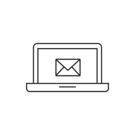 communication concept: Email icon in thin outline style. Envelope laptop business message mail electronic