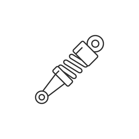 car: Shock absorber icon in thin outline style. Transportation motorcycle bike parts pressure mechanical Illustration