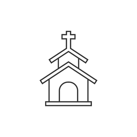 reverse: Church icon in thin outline style. Christian chapel synagogue