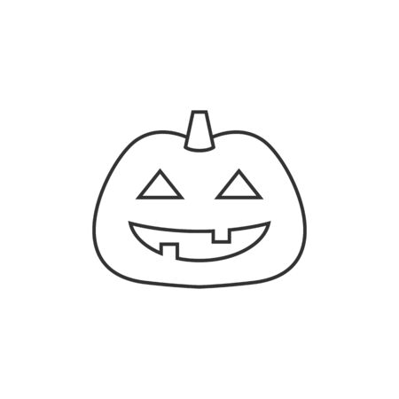 holiday party: Pumpkin icon in thin outline style. Holiday object spooky Halloween October season
