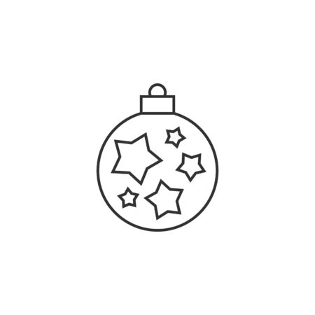 illuminated: Christmas orb icon in thin outline style. Holiday December decoration part