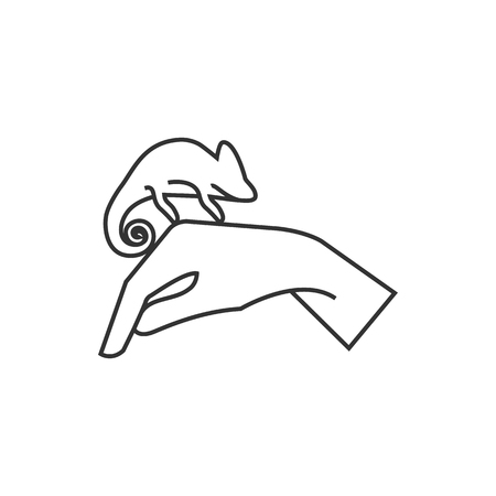 Animal Care Icon In Thin Outline Style Chameleon Zoo Jungle Human Feeding Vector