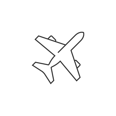 passenger transportation: Airplane icon in thin outline style. Aviation transportation take-off travel passenger top view