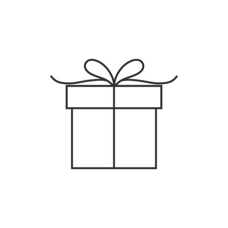 ribbon: Gift box icon in thin outline style. Holiday Christmas birthday party present surprise Illustration
