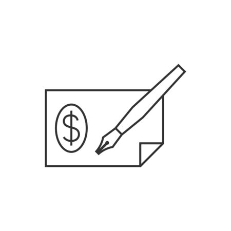 savings account: Check icon in thin outline style. Money banking buying finance Illustration