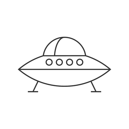 Flying saucer icon in thin outline style. Alien, outer space, earth invasion