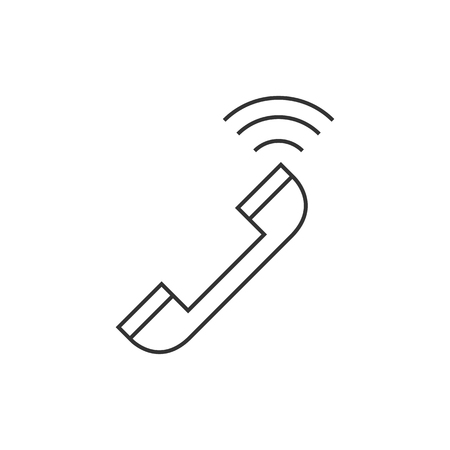 talking: Wireless phone icon in thin outline style. Communication technology Illustration