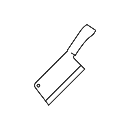 stainless steel: Butcher knife icon in thin outline style. Kitchen restaurant chef tool meat sharp