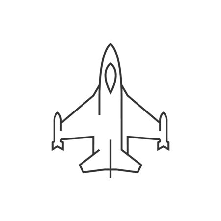 avionics: Fighter jet icon in thin outline style. Aircraft military attack avionics