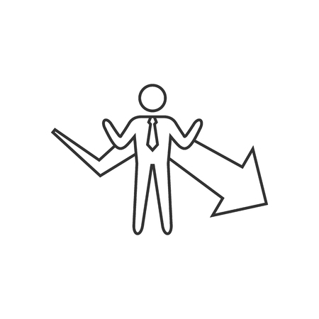 Businessman chart icon in thin outline style. Business finance growth success info graphic