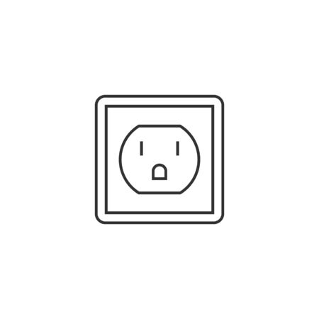 Electrical outlet icon in thin outline style. Electronic connect plug household Illustration