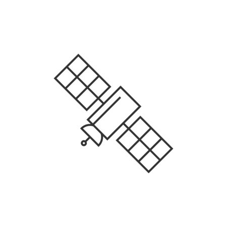 communication: Satellite receiver icon in thin outline style. Data information technology space science