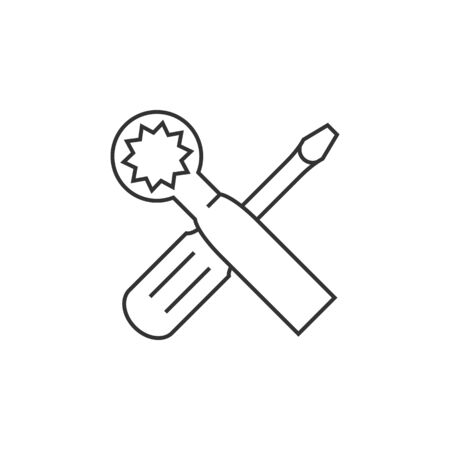 metallic: Bicycle tools icon in thin outline style. Wrench screw driver mechanic setting maintenance professional Illustration