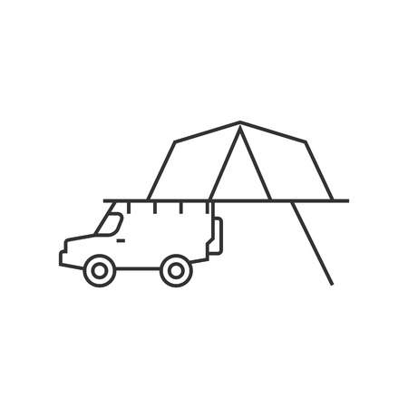 safety: Portable camping tent icon in thin outline style. Shelter vacation travel hiking mobile car automobile safari Africa
