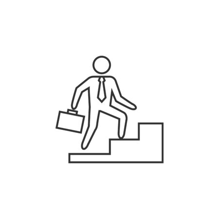 achievement concept: Businessman stairway icon in thin outline style. Business office future ambition challenge