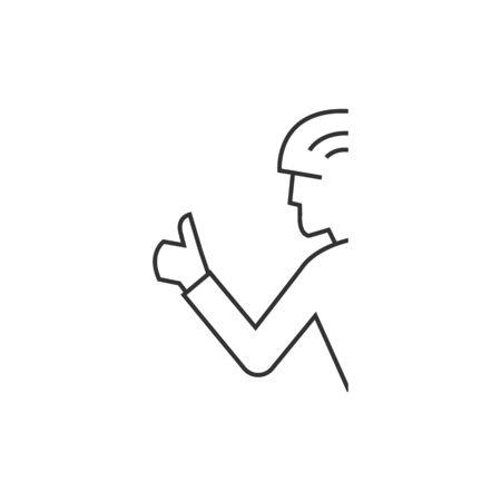 Icône de geste de cyclisme dans un style de contours mince. Le cavalier de course sportive en pouce dit merci