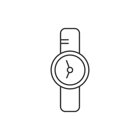 Wrist watch icon in thin outline style. Symbol add bookmark medical health care ambulance