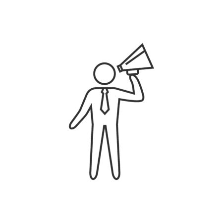 motivator: Businessman loudspeaker icon in thin outline style. Motivator leader announce megaphone