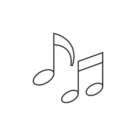 crotchets: Music notes icon in thin outline style. Musical sheets sign crotchets quaver Illustration